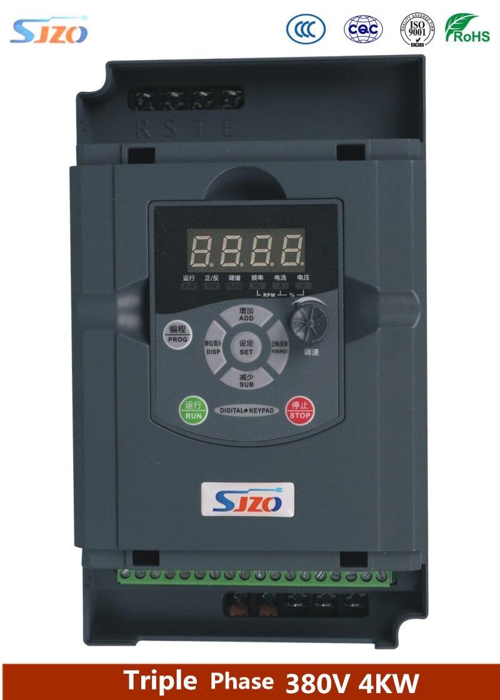 SJZO ZQ100 serie AC Tripe fase 380V Variable Frequecy convertidor inversor 4KW 50 hz/60 hz