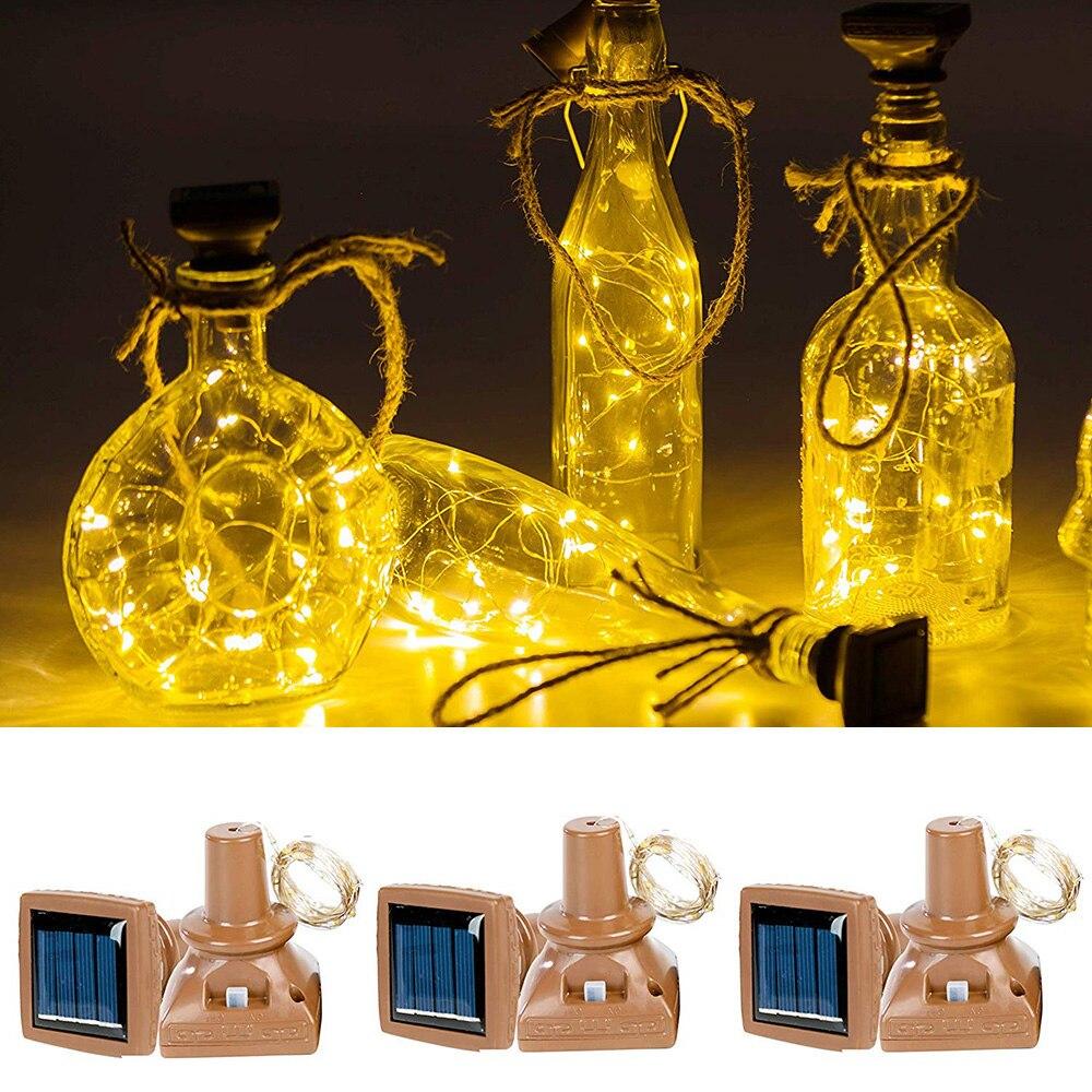 1 piezas 2M 20leds de energía Solar de la botella de vino de luces a prueba de agua de alambre de cobre Alambre de corcho en forma de LED luces de la secuencia boda fiesta Navidad