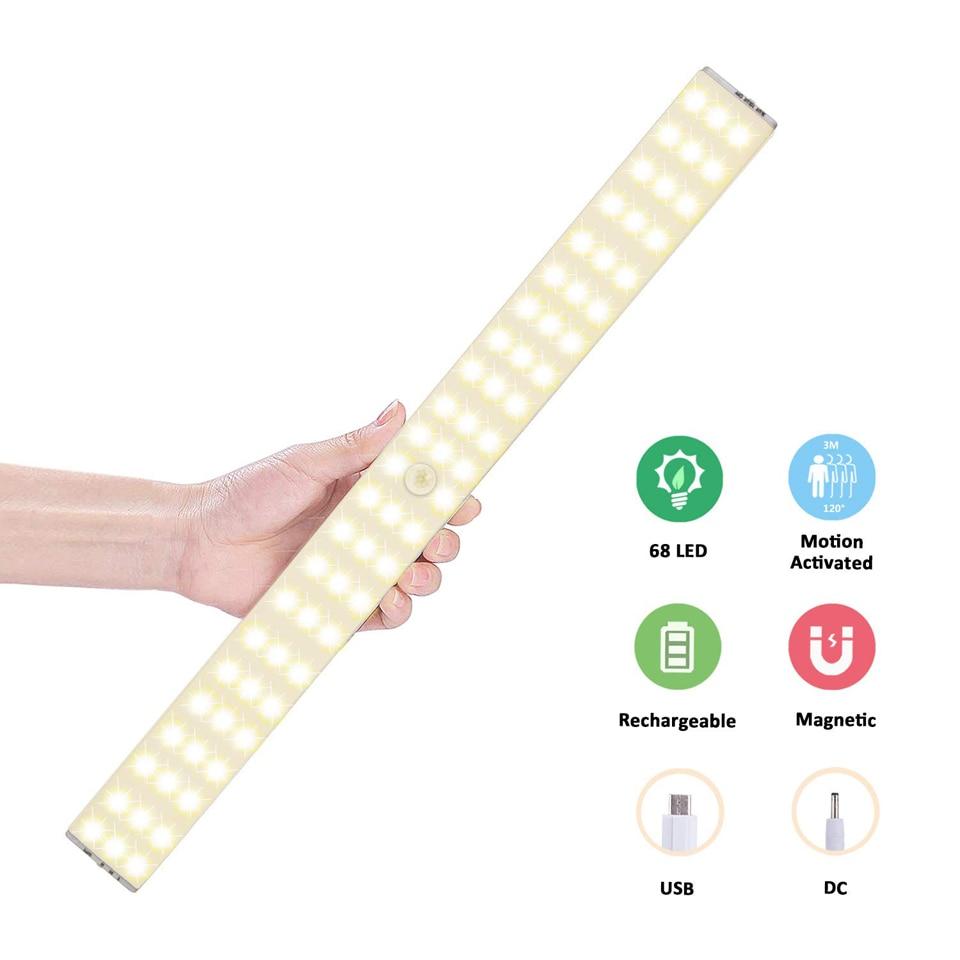 مصباح خزانة LED قابل لإعادة الشحن مع مستشعر حركة 68LED ، مصباح خزانة لاسلكي مع بطارية 1500 مللي أمبير في الساعة ، مثالي للمطبخ أو الردهة