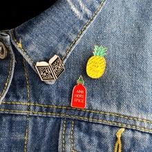 3 pièces/ensemble épingles en émail de dessin animé ajouter plus dépices, lire la suite, broche de livre ananas broches Badges broche ensemble Denim veste accessoires
