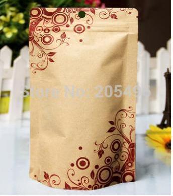 14*22cm 100 unids/lote, bolsa de papel Kraft con cierre de cremallera/cierre de cremallera, bolsa de papel de aluminio dentro de kraft, REGALO/café/té/Snack/bolsa de papel kraft marrón impresa