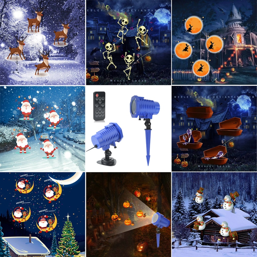 outdoor waterproof led stage light garden tree moving laser projector christmas party home decoration effect lamp Waterproof Moving Christmas Halloween Laser Projector light 8 Pattern Projector Stage Light New year Party Landscape Garden Lamp