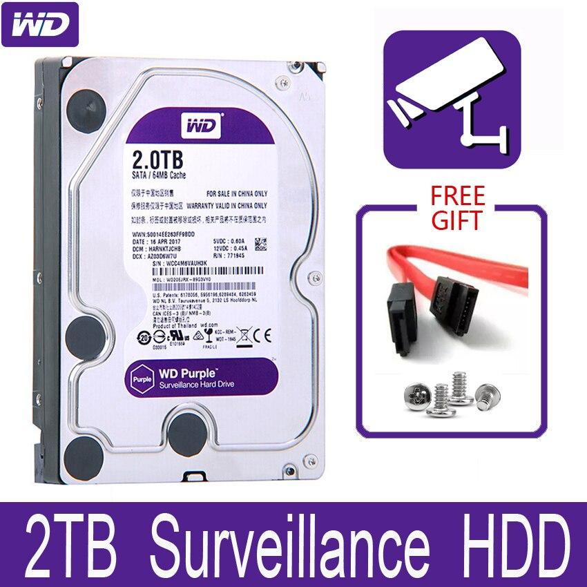 "WD púrpura 2TB vigilancia interna de disco duro de 3,5 ""64 M Cache SATA III 6 Gb/s 2T 2000GB HDD HD disco duro para CCTV DVR NVR"