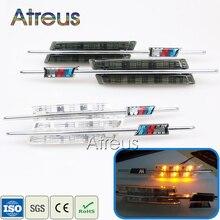 Señales de giro laterales Atreus 2X LED para guardabarros para BMW E60, E61, E81, E82, E87, E88, E90, E91, E92, E93, luces marcadoras LED para coche, 12V, M, Logo styling