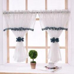 Estilo americano cortinas curtas pelmet janela sheer cozinha branco tule cortina para sala de estar quarto fio café para porta