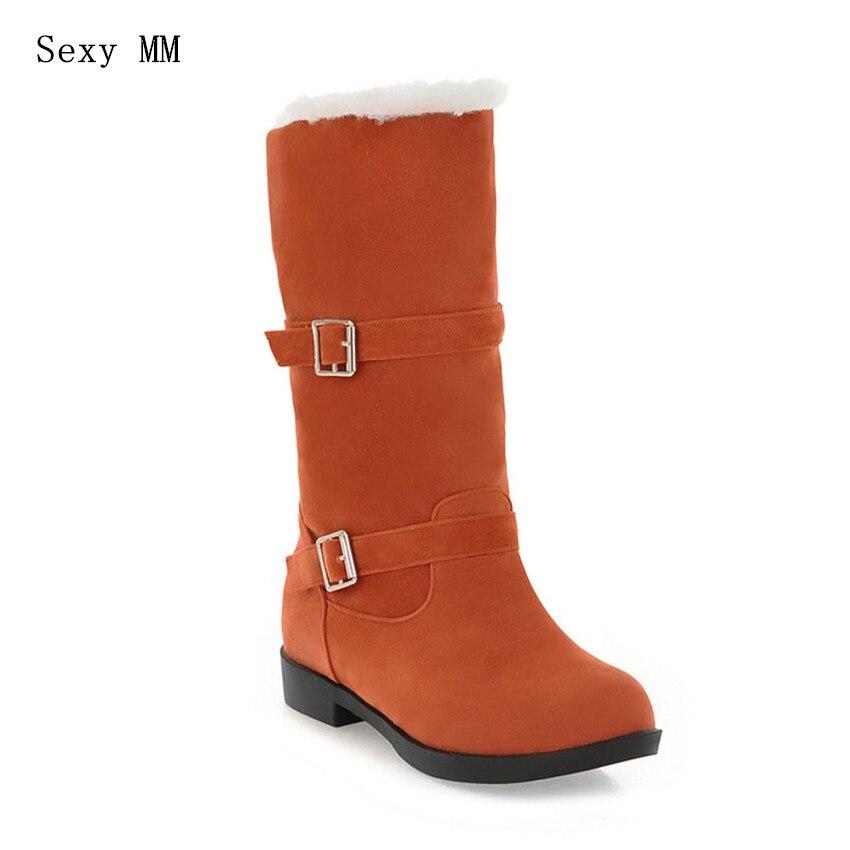 Inverno Quente Baixo Salto Hoof Mid-Calf Botas de Neve Mulheres Sapatos Botas Curtas Mulher botas femininas botte femme Plus tamanho 34-40