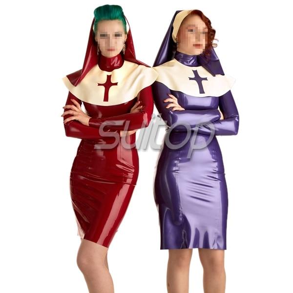 Traje de látex uniforme de monja falda vestido de monja cosplay traje
