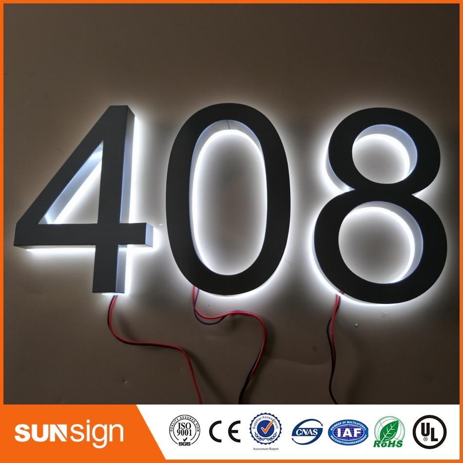 H 30cm salida de fábrica al aire libre metal retroiluminado letras led signo y tablero de acrílico con número o letras