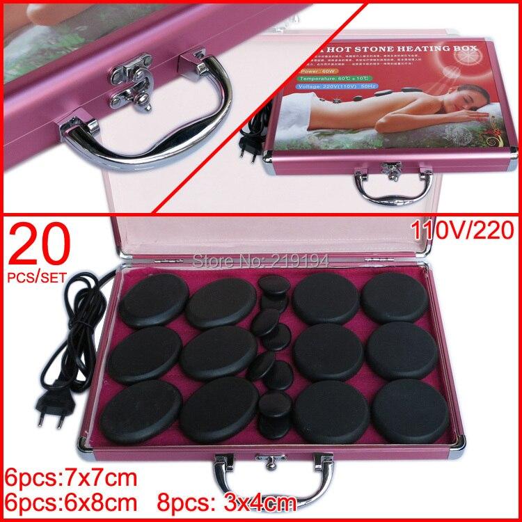 Tontin hot stone set body masajeador caja de calentamiento con 220V caja de calentador 20 unids/set CE y ROHS cuidado de la salud masager de espalda