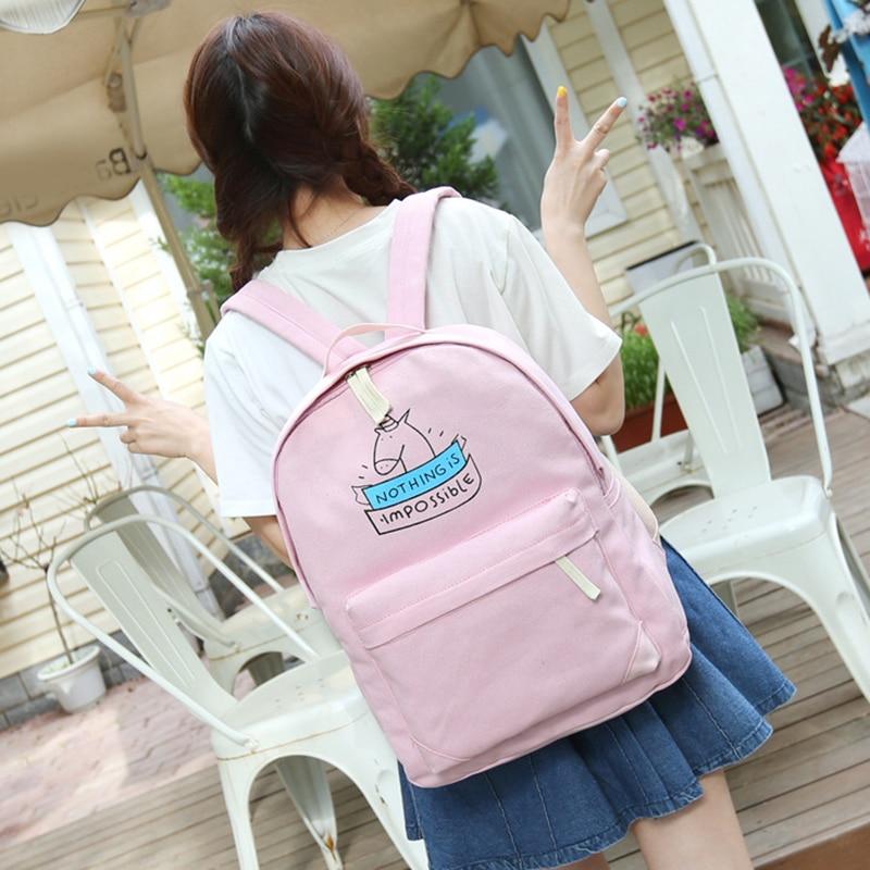 50pcs/lot Women Canvas Backpack Fashion Cute Travel Bags Printing Backpacks 2pcs/set Laptop Backpack For Teenage Girls