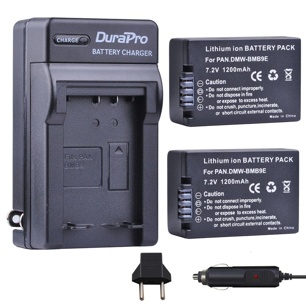 2 pcs DMW-BMB9 DMW-BMB9E BMB9 Bateria + Carregador de Carro para Panasonic Lumix DMC DMW FZ40K FZ45K FZ47K FZ48K FZ60 FZ70 FZ100 FZ150