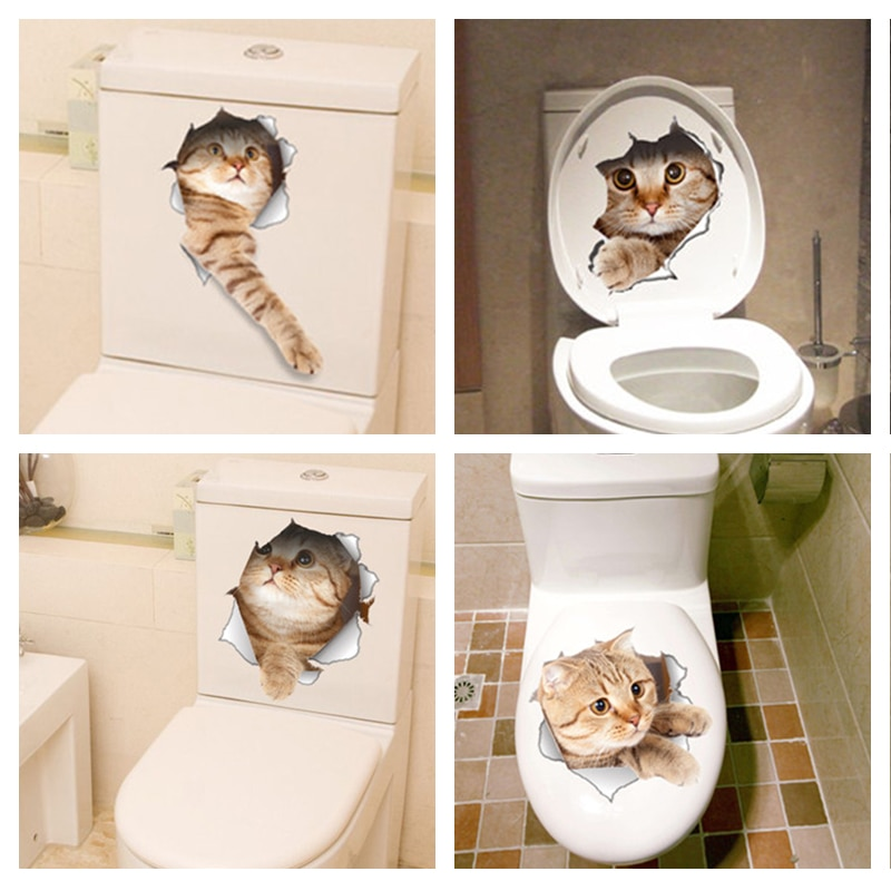 Cat Vivid 3D Smashed Switch Wall Sticker Bathroom Toilet Kicthen Decorative Decals Funny Animals Dec