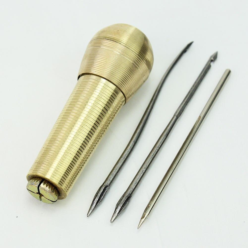 Se aplica de oro de cuero de la lona tienda de punzón de coser a mano de Stitcher equipo de aguja para cuero artesanal herramienta mango cónico agujero de la aguja de gancho conjunto