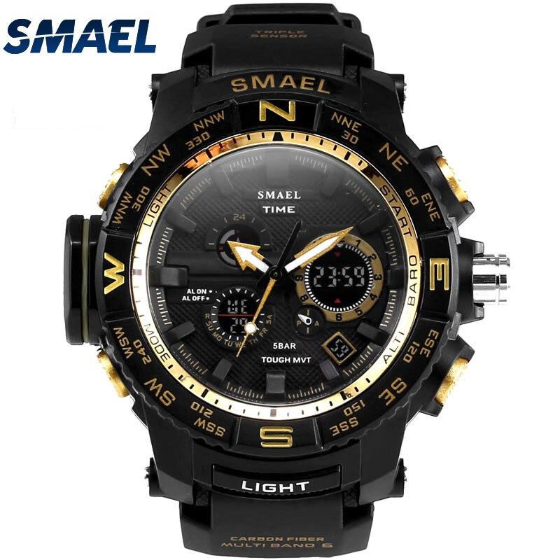 50ATM impermeable SMAEL nuevo Super 2017 Producto multifuncional para los jóvenes al aire libre LED reloj de pulsera mejor regalos Mode1531