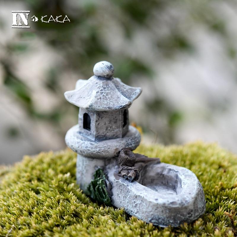 Modelo de torre de estanque retro de resina, figuritas de musgo para el hogar, figuritas de juguete miniaturas DIY/accesorios y adornos para manualidades de minijardín de hadas