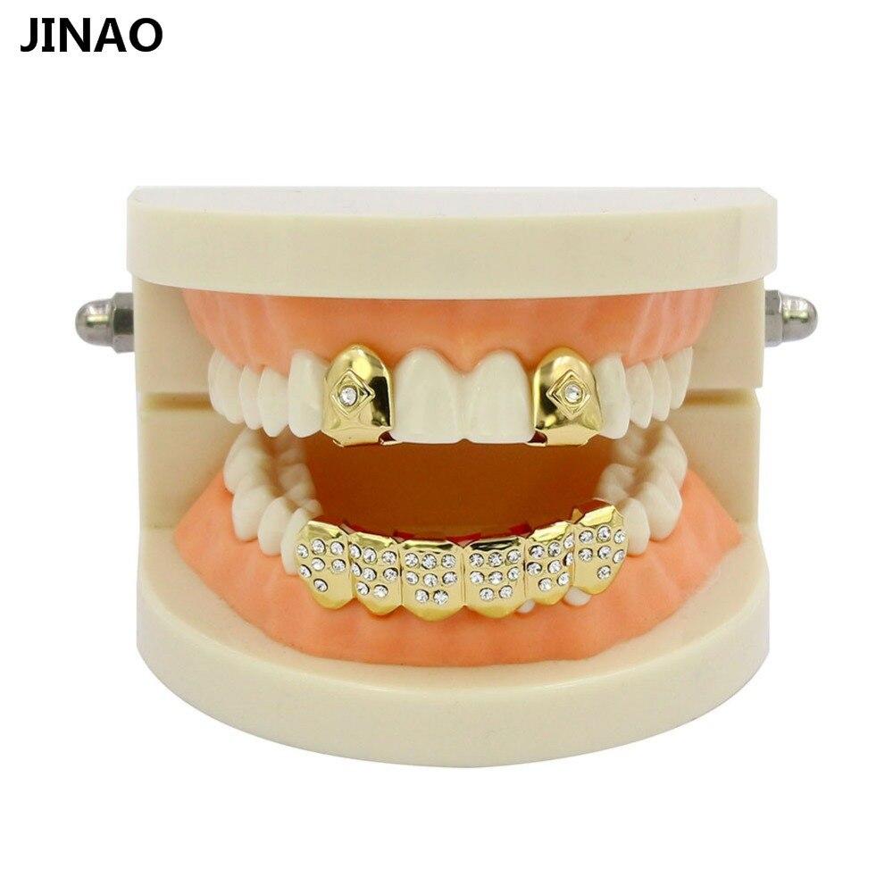 JINAO hombres y mujeres Hip Hop oro Color plateado boca Grillz Set CZ Rhinestone 2 uds Single Top & 6 dientes inferior set oro parrillas