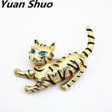 Geel alloy zwart emaille ingelegd blauwe ogen leuke kat broche Corsage pinnen Dier stijl sieraden groothandel
