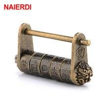 Candado de aleación de Zinc NAIERDI de 50x28mm, candado con llave de Bronce Antiguo, combinación Retro, candado con contraseña para joyería
