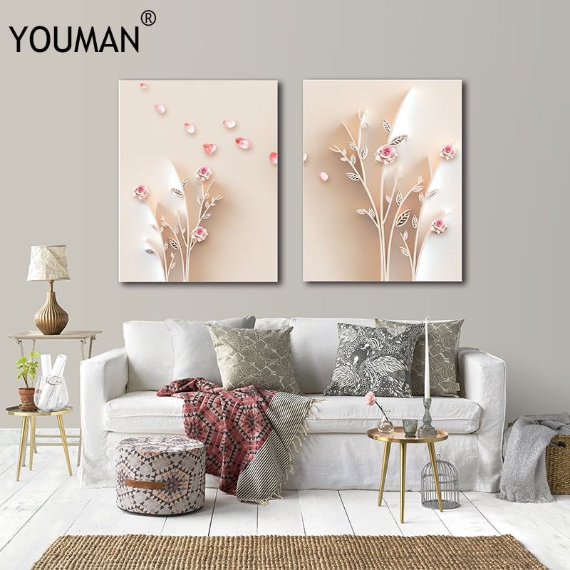 YOUMAN White Cute Flower Nordic Decoration Home Canvas Art Posters And Prints Wall Painting Poster Wallpapers