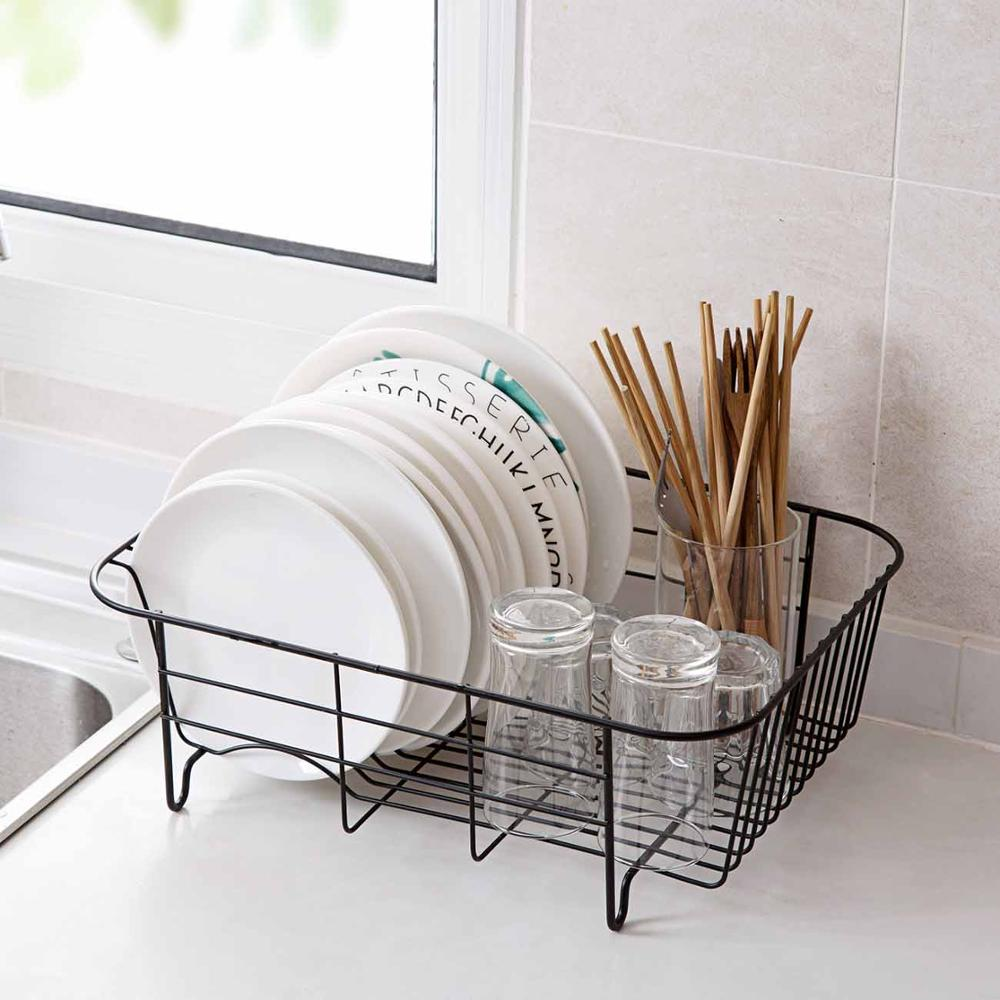 Iron Kitchen Dish Drying Rack Tableware Drainer Storage Basket Shelf Plate Dish Rack Drain Basket Cabinet Sink Organizer