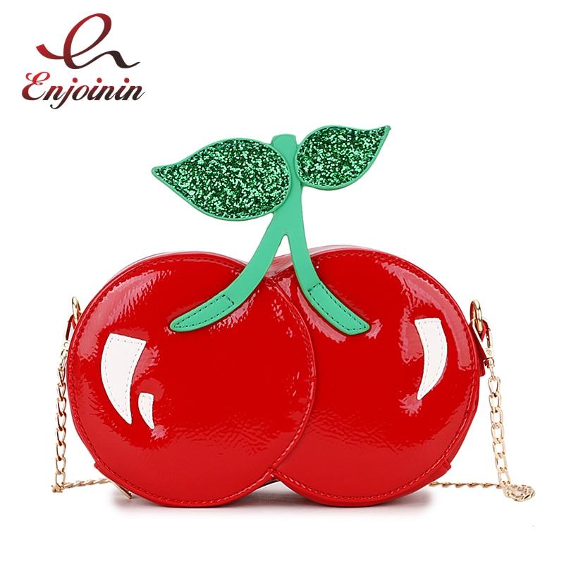 Fashion Cute Sequins Red Cherry Design Pu Leather Casual Chain Shoulder Bag Girl's Clutch Bag Handbag Mini Messenger Bag Flap