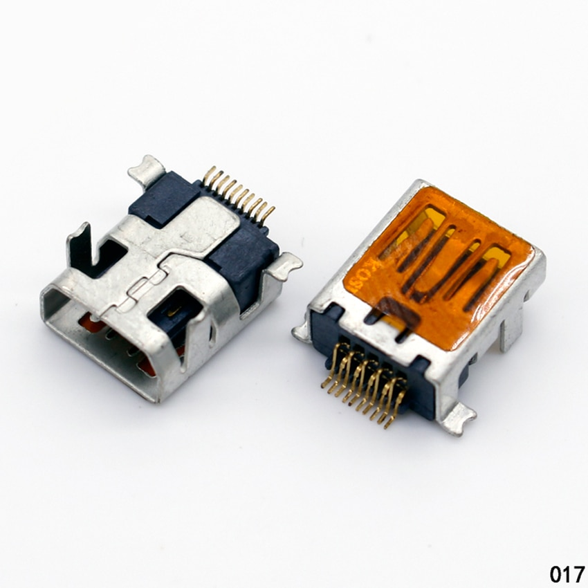 1x Female Mini USB Type B 10 Pin SMT SMD DIP Mount Jack Connector