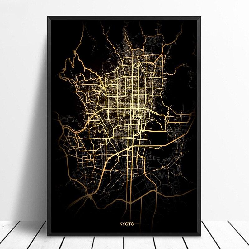 Mapas de luz de ciudad de Tokio Mapa de ciudades del mundo carteles impresiones en lienzo arte de pared de estilo nórdico decoración del hogar