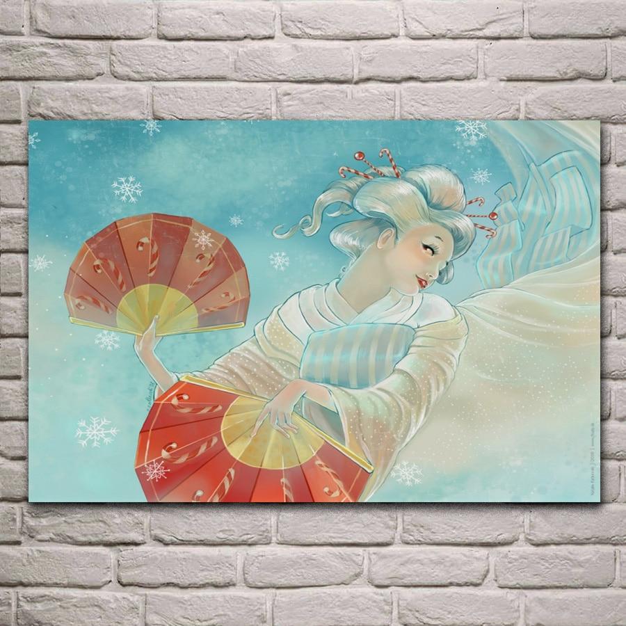 Geisha japonesa chica fantasía sala de estar decoración hogar Arte de la pared Decoración marco de madera y tela carteles MD375