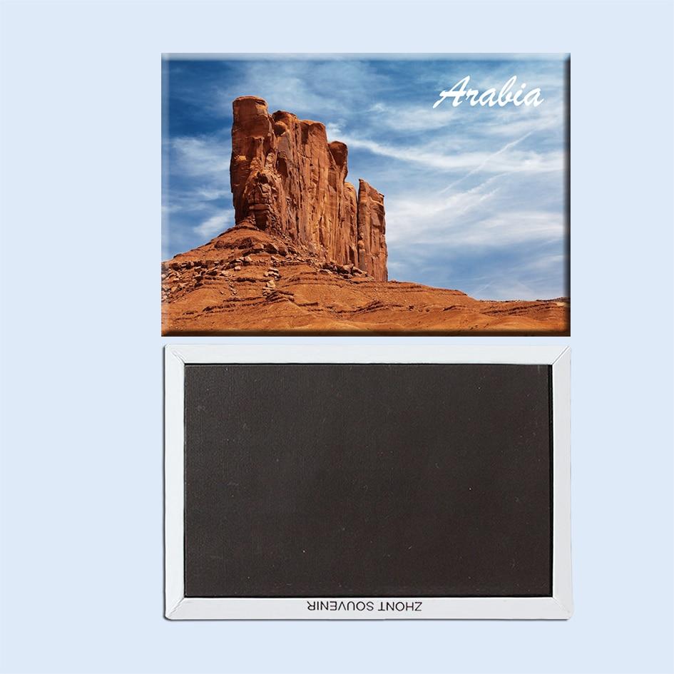 Paisaje espectacular Arabia rock hill sky desert canyon Arabia 22756 recuerdo de imán de nevera de viaje