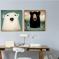 haochu nordic decoration white and black the polar bears oil canvas painting animals forest prints modular pictures for bedroom
