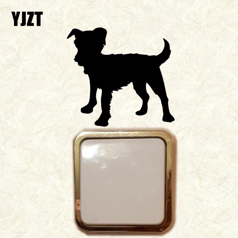 YJZT Mongrell cachorro pared calcomanía vinilo dormitorio decoración interruptor pegatina dibujos animados perro patrón 17ss0370