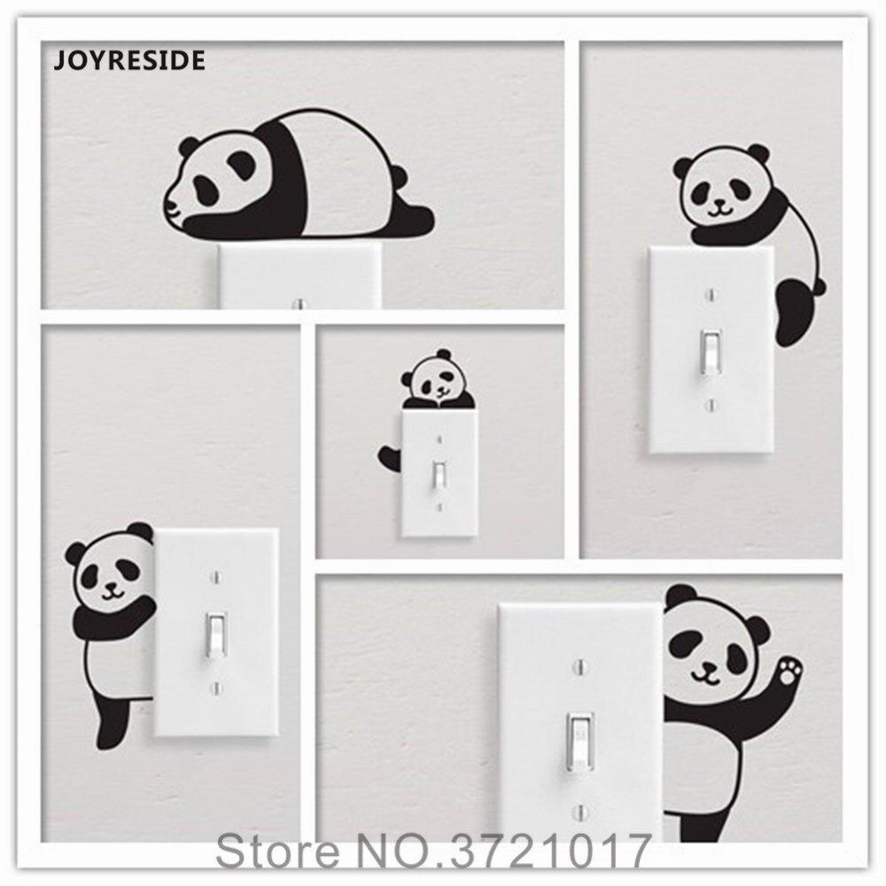 JOYRESIDE 5 Pandas/Set Linda Engraçado Luz Interruptor de Parede Simples Adesivo de Vinil do decalque Crianças Sala de Arte DIY Home Decor Decoração XY157