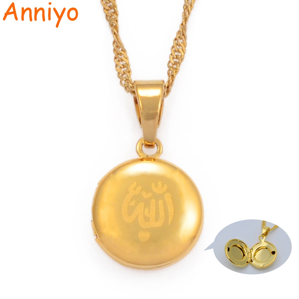Anniyo pequeno allah caixa pingente colar para mulher muçulmano colares jóias menina, cor de ouro islam profeta muhammad #016702