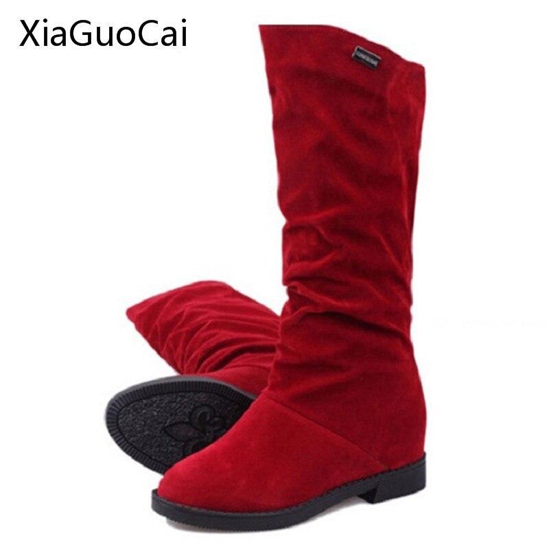 Gran oferta, botas Martin para mujer, botas de gamuza elásticas para mujer, botas de otoño, botas de media pantorrilla marrón para aumentar la altura X804 5