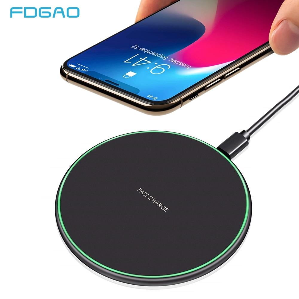 FDGAO 15W Qi de carga rápida cargador inalámbrico para iPhone 11 X XR XS Max 8 Samsung Nota 10 9 S8 S9 S10 USB tipo C la carga rápida Pad