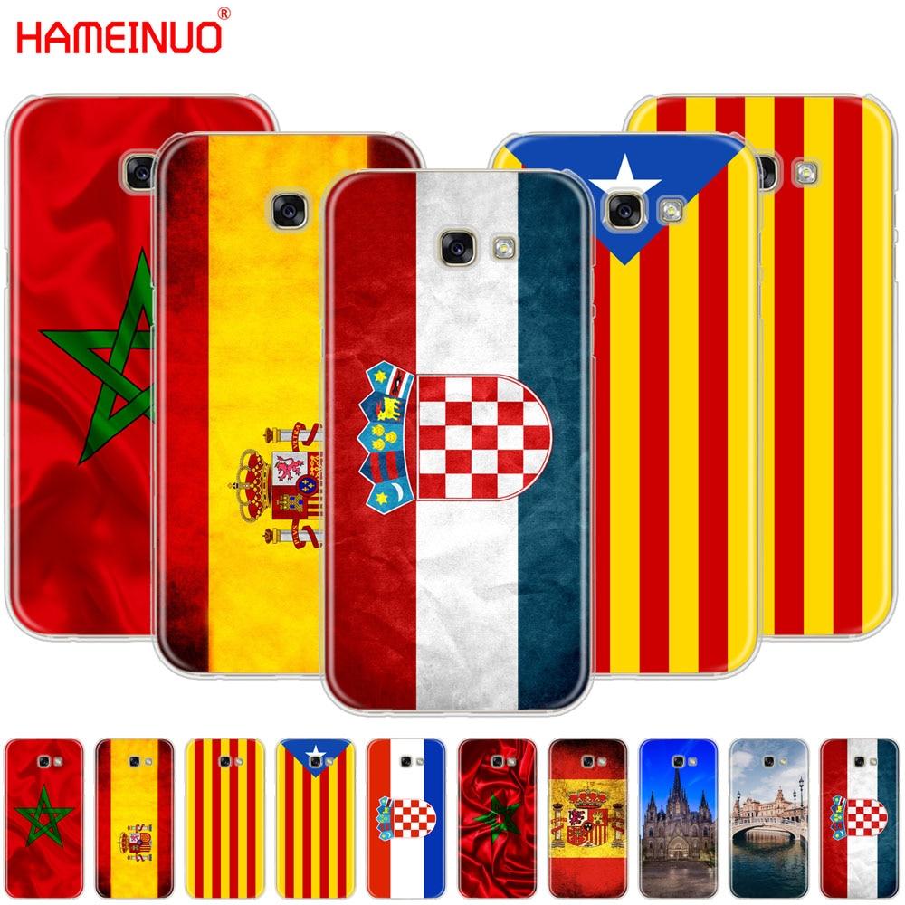 HAMEINUO a Espanha Marrocos Croácia bandeira brilhante tampa da caixa de telefone celular para Samsung Galaxy A3 A310 A5 A510 A7 A8 a9 2016 2017 2018