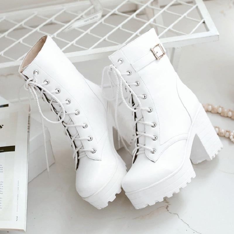 حذاء مارتن بكعب عالٍ 10 سنتيمتر للنساء ، موضة لوليتا ، التجارة الخارجية ، مقاس كبير ، اتجاه جديد للربيع والخريف