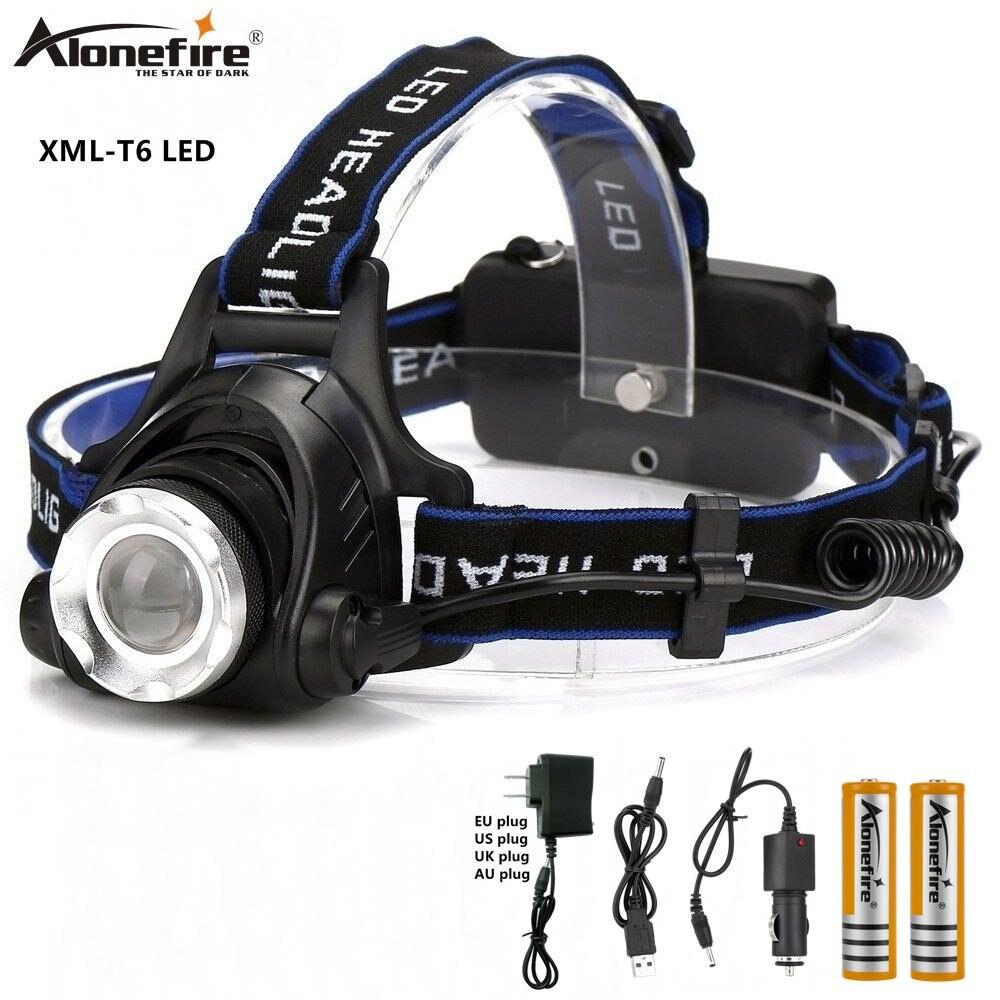 AloneFire HP79 faro CREE T6 LED 5000lm Zoom cabeza luz viaje Camping cabeza lámpara 18650 batería recargable hike faro
