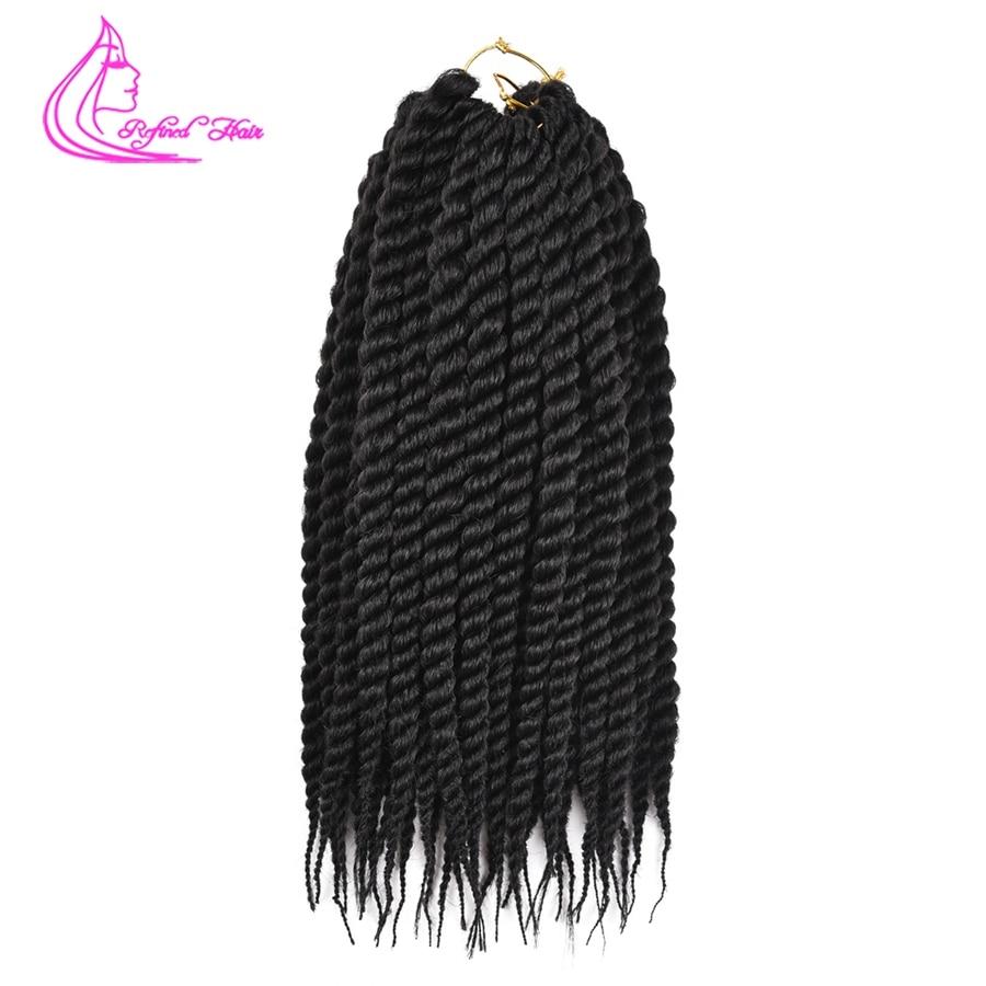 Refinado cabello 12 18 pulgadas sintético Ombre senegalés Twist pelo Crochet 12 raíces Crochet trenzado extensiones de cabello para mujer africana