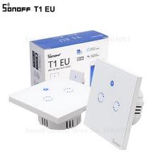 Sonoff T1 Eu Smart Wifi Muur Touch Light Switch 1 Gang 2 Gang Touch/Wifi/433 Rf/app Remote Smart Home Controller Werk Met Alexa