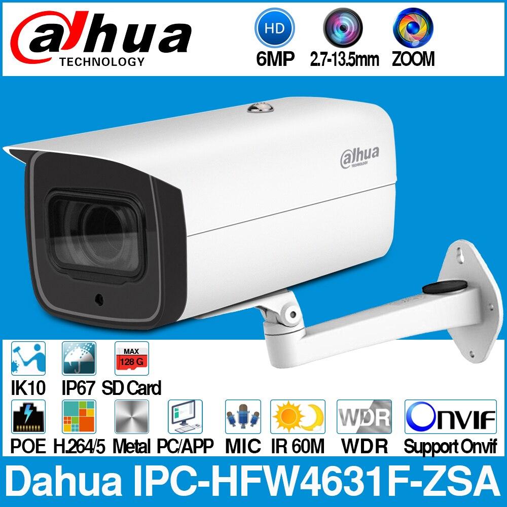 Cámara Dahua IPC-HFW4631F-ZSA 6MP Bullet IP 5X Zoom 2,7 ~ 13,5mm lente motorizada VF 60M IR MAX ranura para tarjeta SD micrófono incorporado IP67 IK10