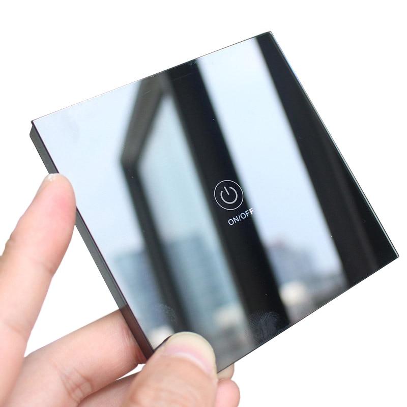 86 Panel de cristal templado RF de Control remoto inalámbrico con transmisor táctil de pared con LED para interruptor de luz de lámpara 433MHz EV1527 negro