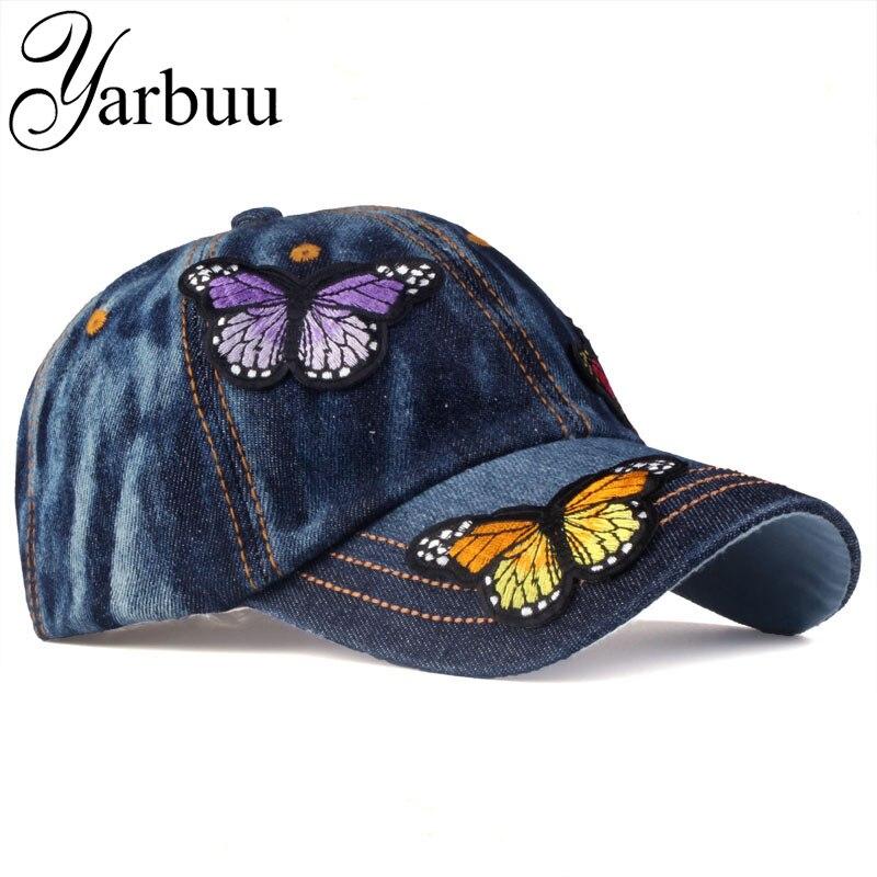 [YARBUU] брендовая бейсбольная кепка Женская Повседневная Бейсболка с бабочкой Новая модная однотонная джинсовая кепка летняя Солнцезащитная Дамская джинсовая кепка