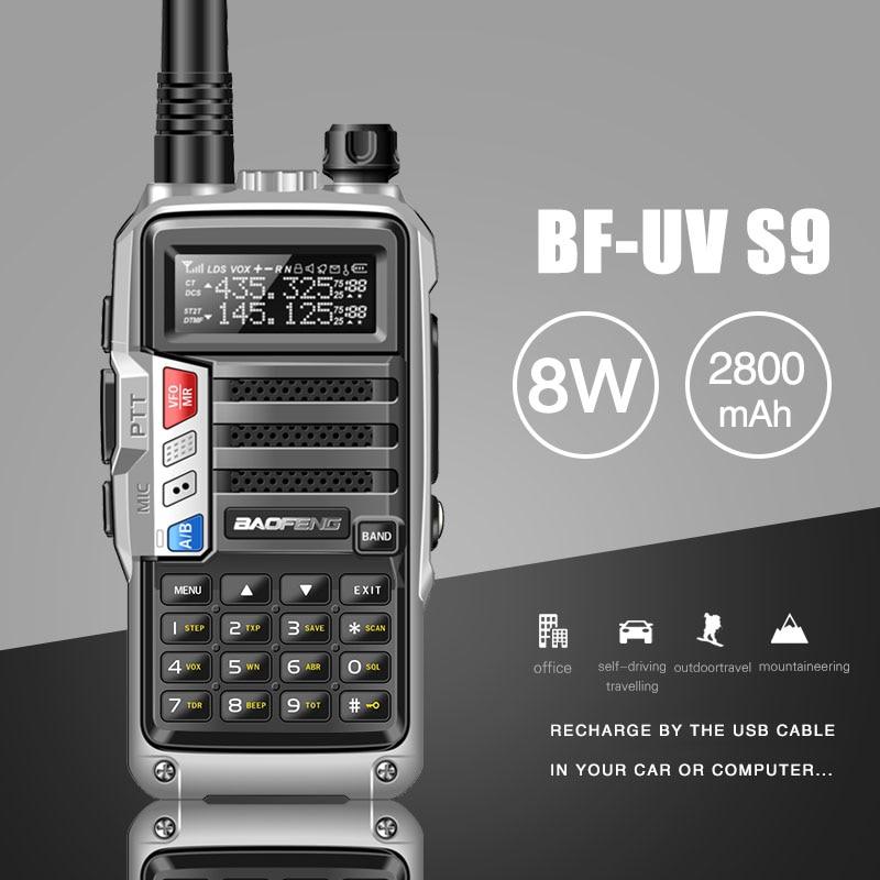 2021BaoFeng UV-S9 Powerful Walkie Talkie CB Radio Transceiver 8W 10km Long Range Portable Radio for hunt forest city upgrade 5r