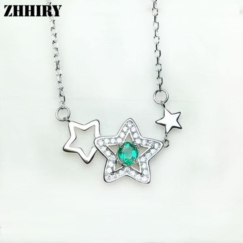 ZHHIRY Natural Emerald Necklace Pendant Genuine 925 Sterling Silver For Women Star Shaped Real Gemstone Fine Jewelry zhhiry women jewelry sets natural red garnet gem stone genuine 925 sterling silver ring pendant chain