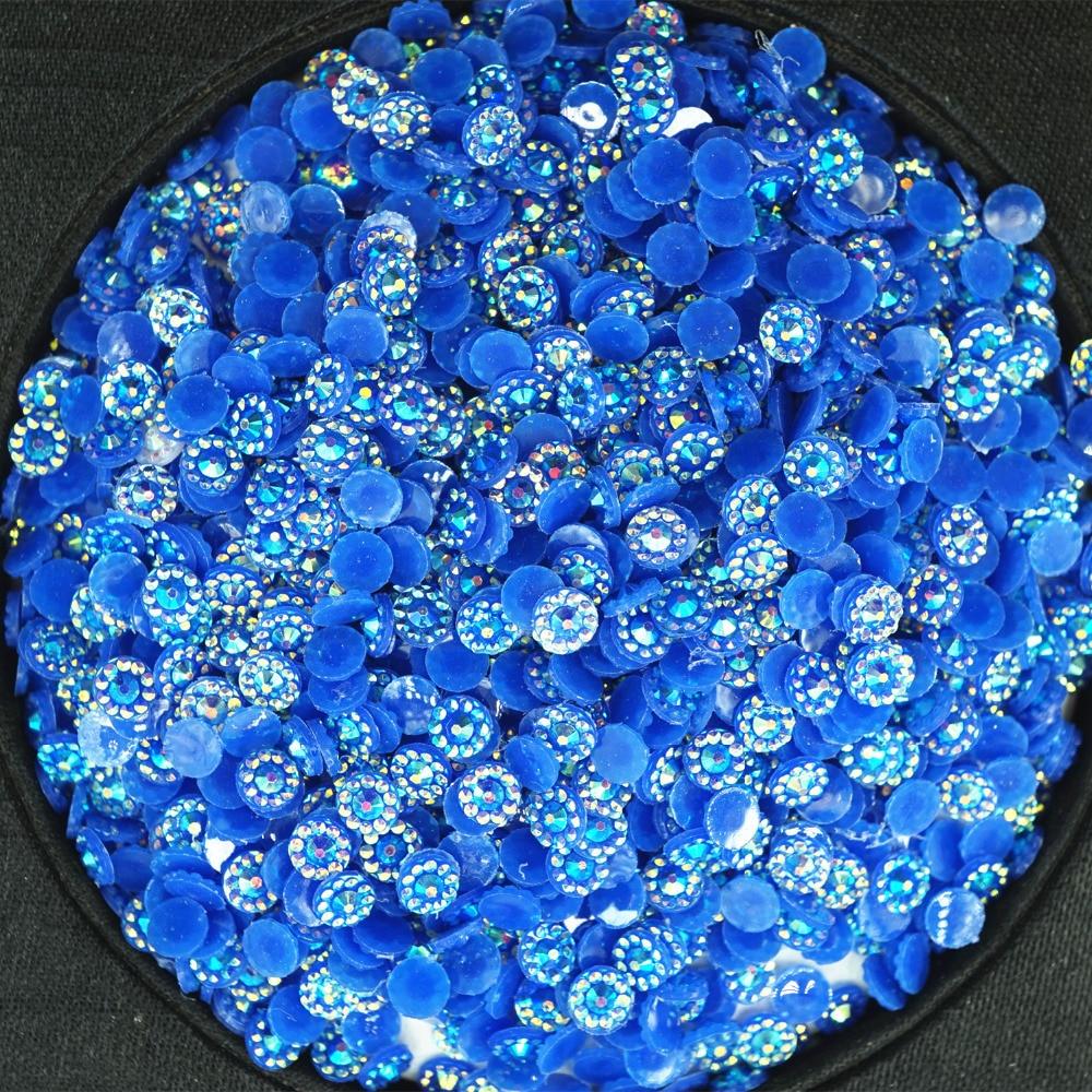 5000 unids/bolsa SS16 4,0mm flores redondas resina azul AB taladro el hotfix flatback rhinestone alta calidad cuentas de diamante