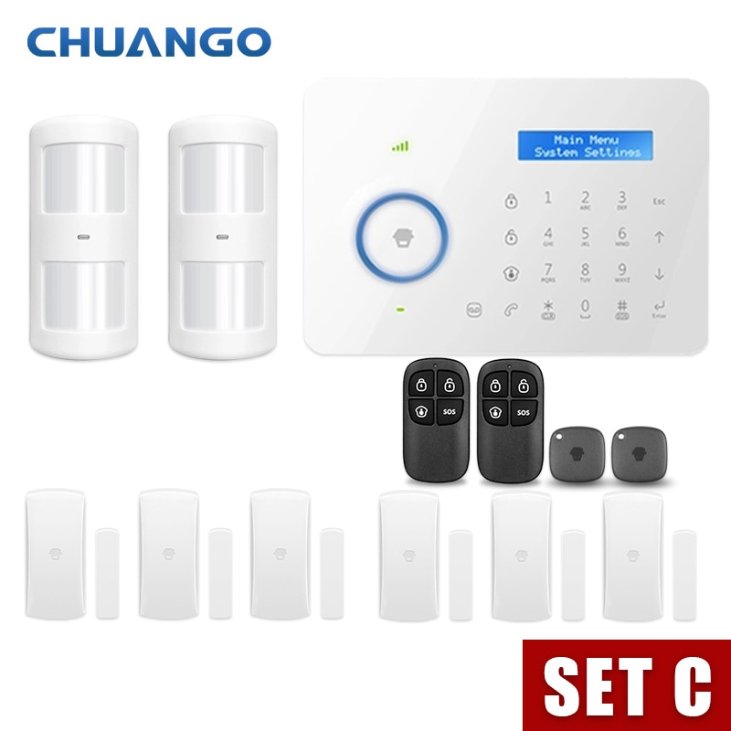 Android IOS App Wireless GSM Home Alarm System SIM Smart Home Burglar Security Alarm enlarge
