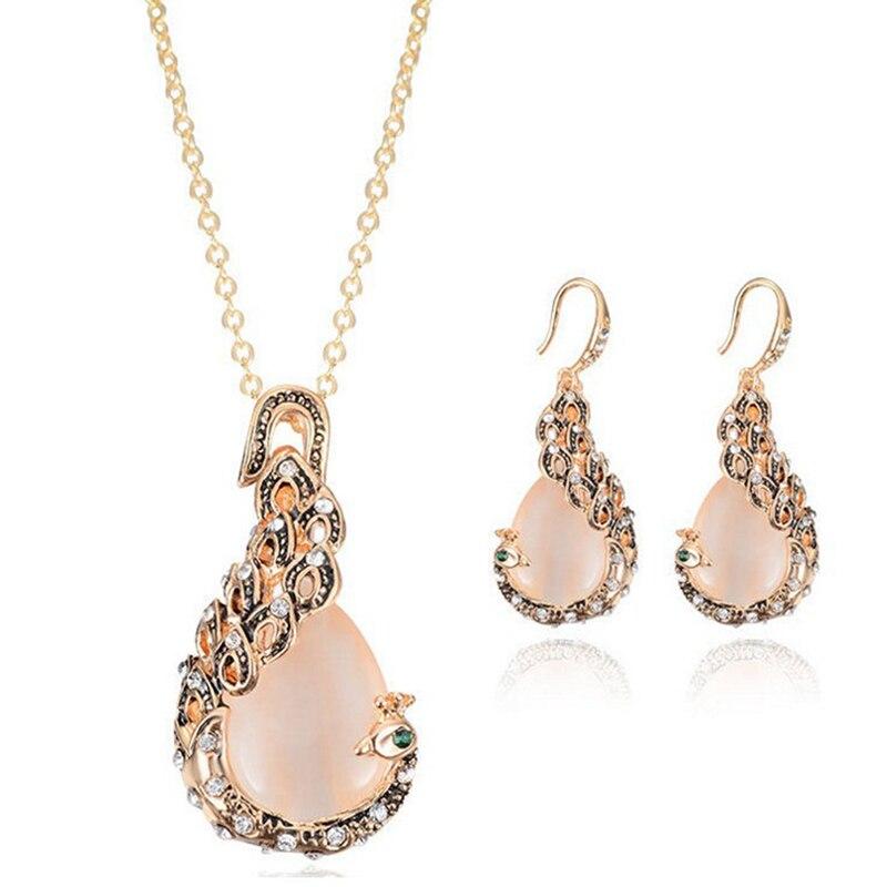 Moda ópalo cristal Pavo Real collar pendientes boda joyería conjunto romántico regalo joyería
