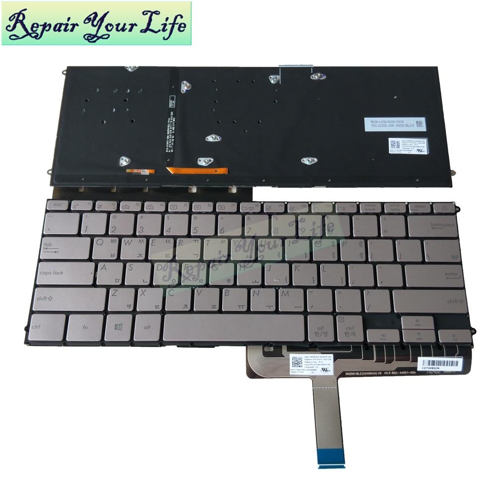Teclado portátil para ASUS ZenBook 3 Deluxe UX490 UX490CA UX490UA Corea estándar KR con retroiluminación plata sin marco 86730 XRA parte