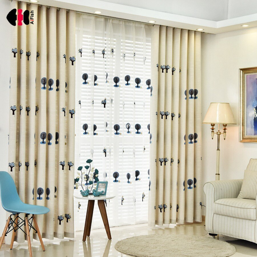 Cortinas de árboles de dibujos animados para dormitorio de lino de algodón bordados para toalla lindo encanto niños niñas Cortina ventana cortinas WP192C
